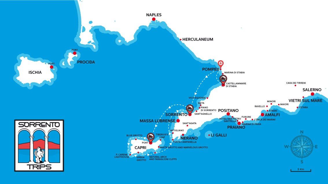 Pompeii e Capri Boat Tour Map