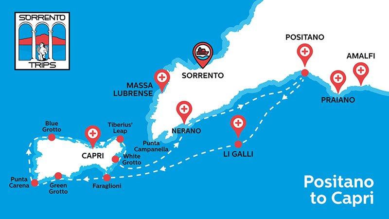 Positano Capri Boat Trip map