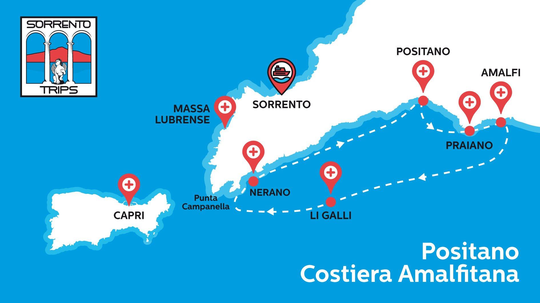 Positano Amalfi Mappa del Tour