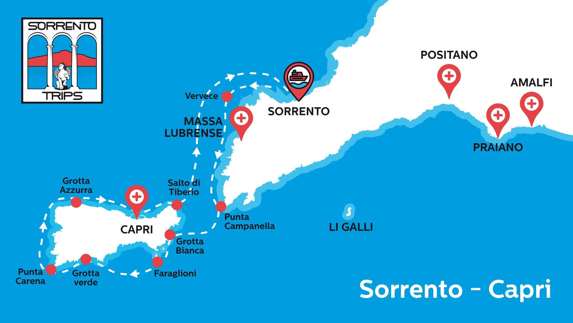 Sorrento Capri Mappa del Tour