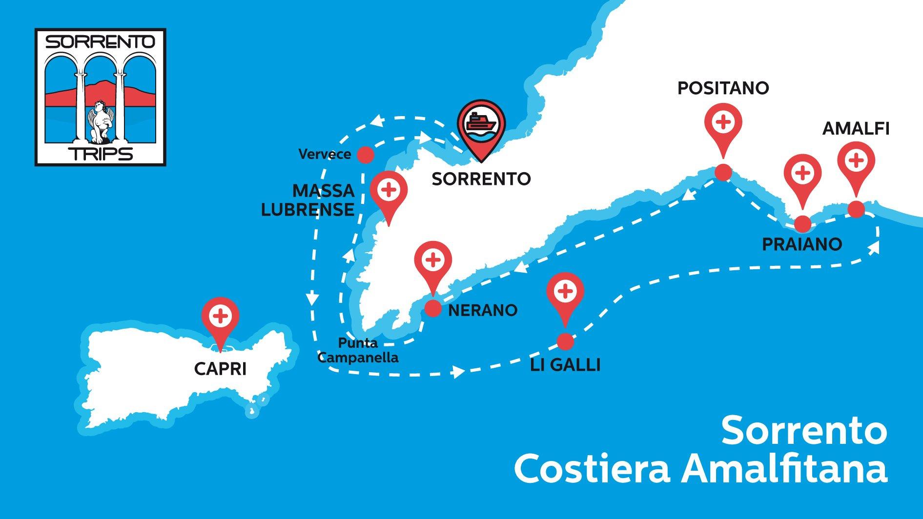 Sorrento Amalfi Mappa del Tour