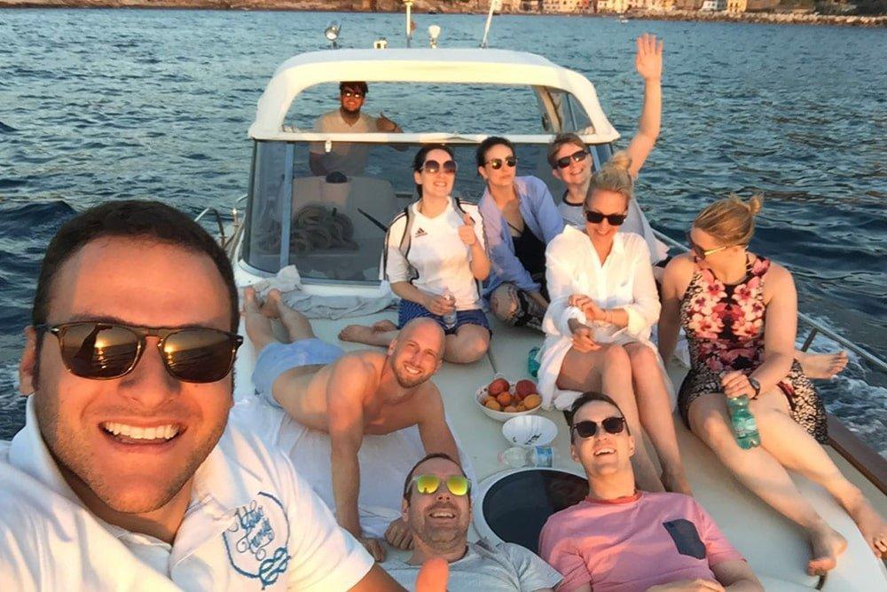 Selfie in barca Capri e Positano