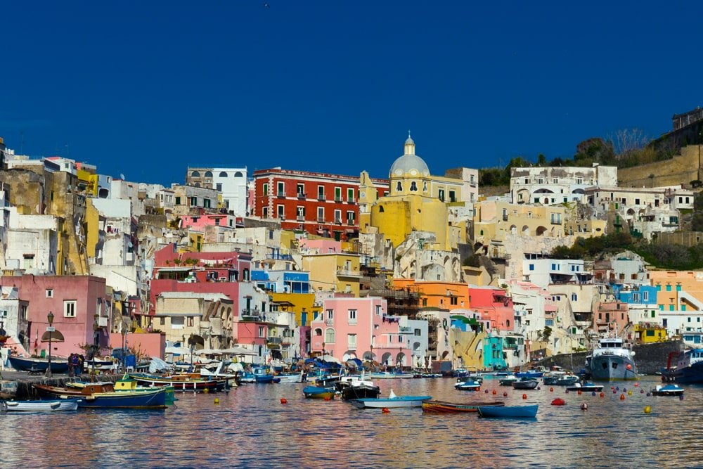 Procida beautiful skyline from sea - Wikipedia Copyright